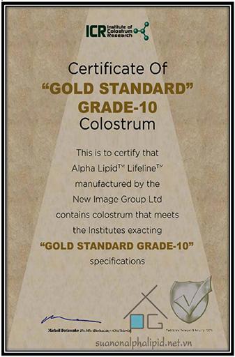 chứng nhận tiêu chuẩn vàng của viện sữa non ICR