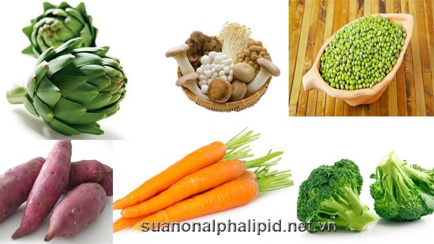 Các loại rau có nhiều chất xơ bao gồm atiso, đậu xanh, bắp, bông cải xanh, Khoai lang, Cà rốt, Súp lơ, Nấm,…
