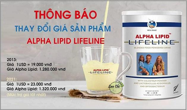 thông báo giá sữa non alpha lipid