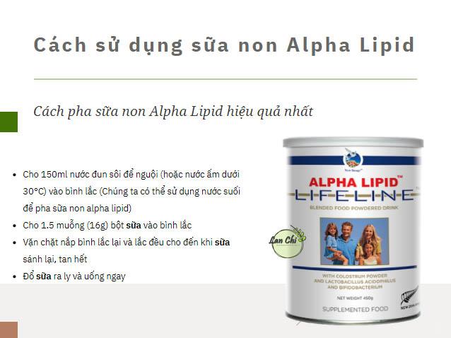 cach pha sua non alpha lipid